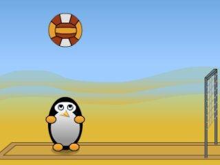 juego de deportes volley ball y animales pinguinos